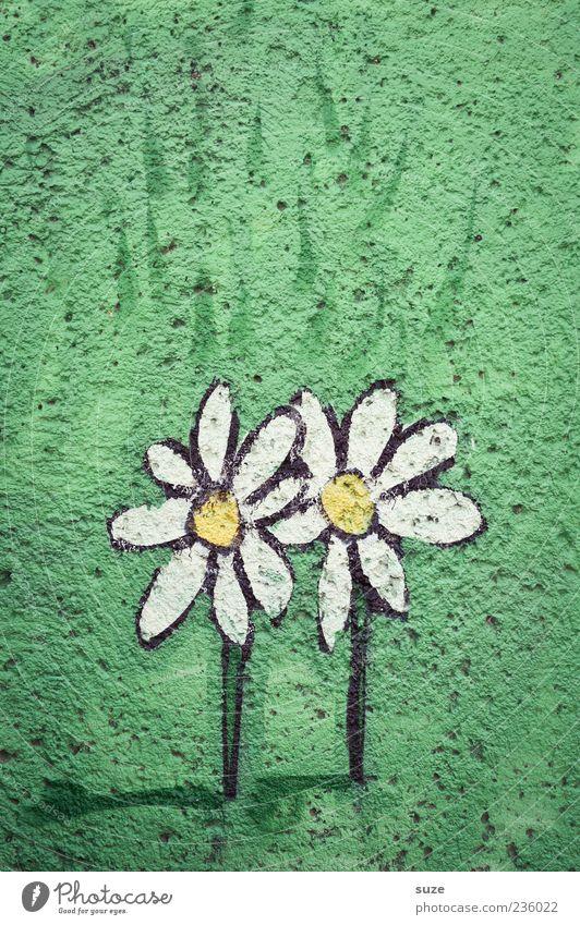 Zweiunddieselbe Blume Graffiti einfach Freundlichkeit schön klein grün Freundschaft Liebe Zeichnung paarweise Wand Putz Wiese Wandmalereien Straßenkunst bemalt