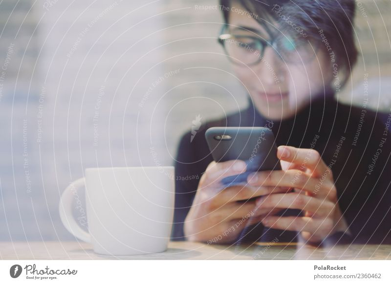 #A# coffee text Kunst Kunstwerk ästhetisch Kaffeepause Handy Chatten Café Tippen Kommunizieren Kommunikationsmittel kommunikativ Frau Brille Suche multitasking