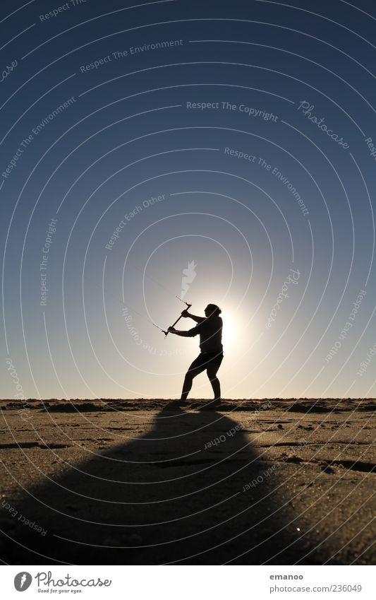 kite silhouette Mensch Himmel Natur Ferien & Urlaub & Reisen Sonne Meer Sommer Strand Freude Freiheit Küste Sand Stil Wetter Wind Kraft