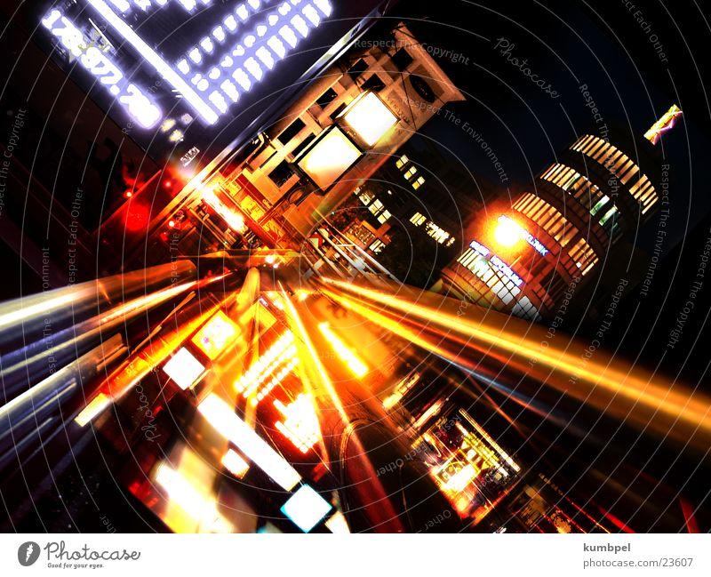 .nachtexpression Information Gebäude Stahl glänzend glühend Licht dunkel lang Nacht Ladengeschäft Umgebung Technik & Technologie Strahlung Zoomeffekt