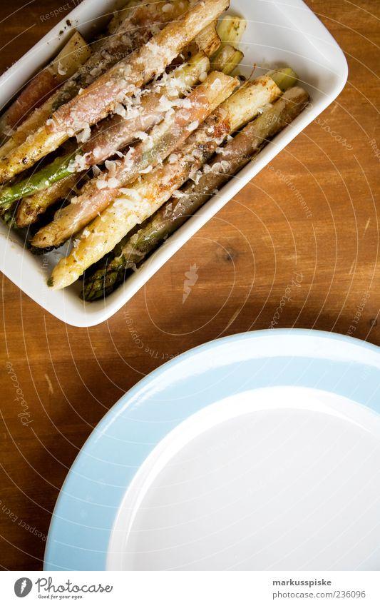 spargel geröstet mit reispapier und parmaschinken Gesundheit Lebensmittel frisch Speise Geschirr lecker Teller Duft Bioprodukte Schalen & Schüsseln Ernährung