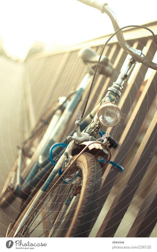 b i c y c l e. Fahrrad geschlossen Sicherheit Brücke parken Brückengeländer angelehnt Abstellplatz Fahrradlicht