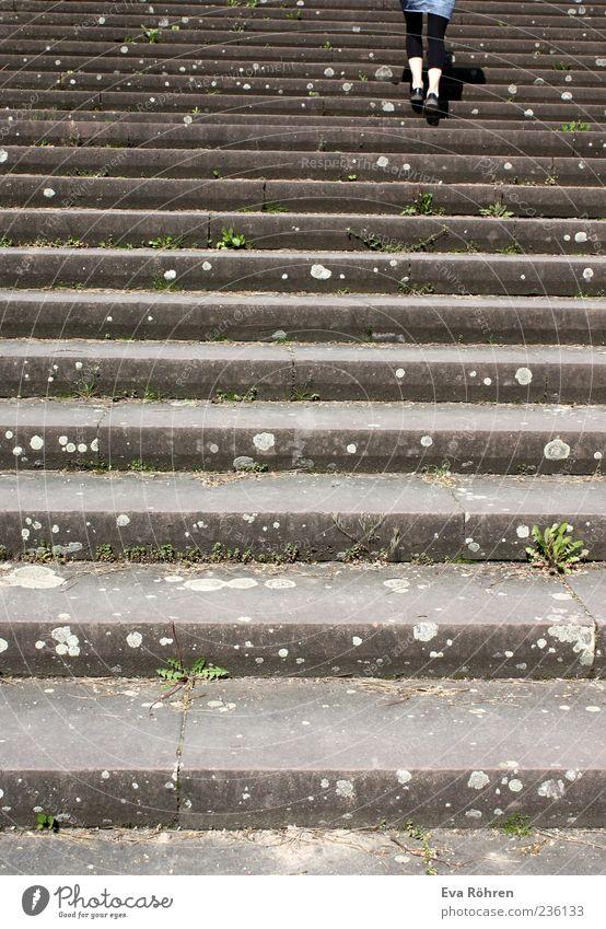 Treppenaufstieg Beine 1 Mensch Fußgänger Rock Leggings Beton Bewegung gehen oben grau Ausdauer anstrengen Farbfoto Außenaufnahme Tag Rückansicht