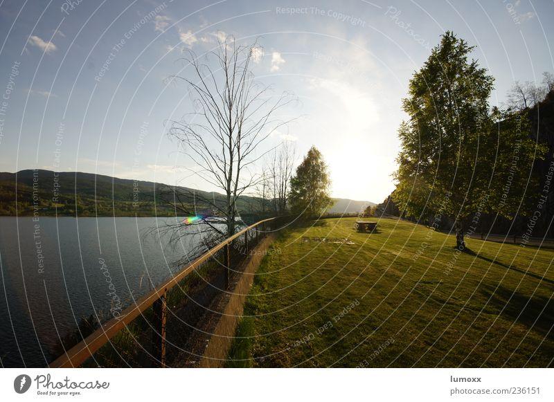 heddalsvatnet Ferien & Urlaub & Reisen Freiheit Natur Landschaft Wasser Sonnenaufgang Sonnenuntergang Sonnenlicht Frühling Schönes Wetter Gras Wiese Hügel See