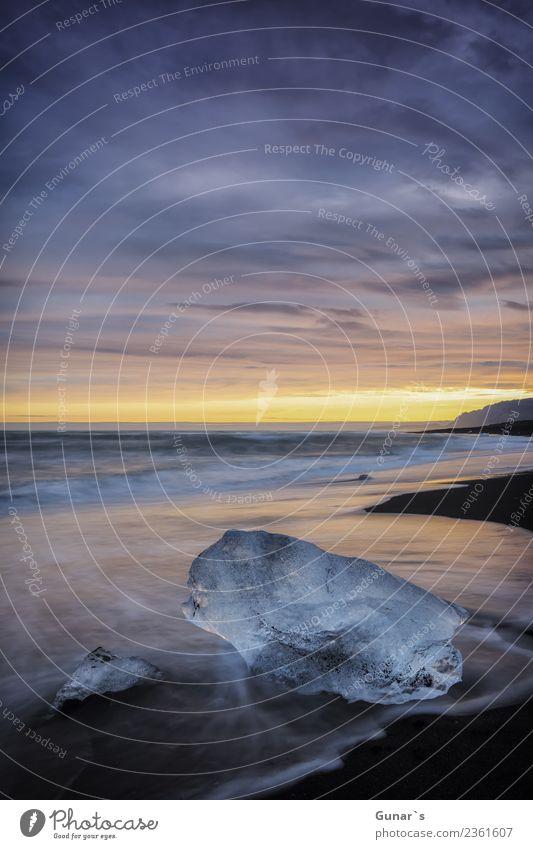 Diamanten im Eis_003 Erholung Ferien & Urlaub & Reisen Tourismus Ausflug Abenteuer Ferne Freiheit Expedition Strand Meer Wellen Natur Landschaft Urelemente Sand
