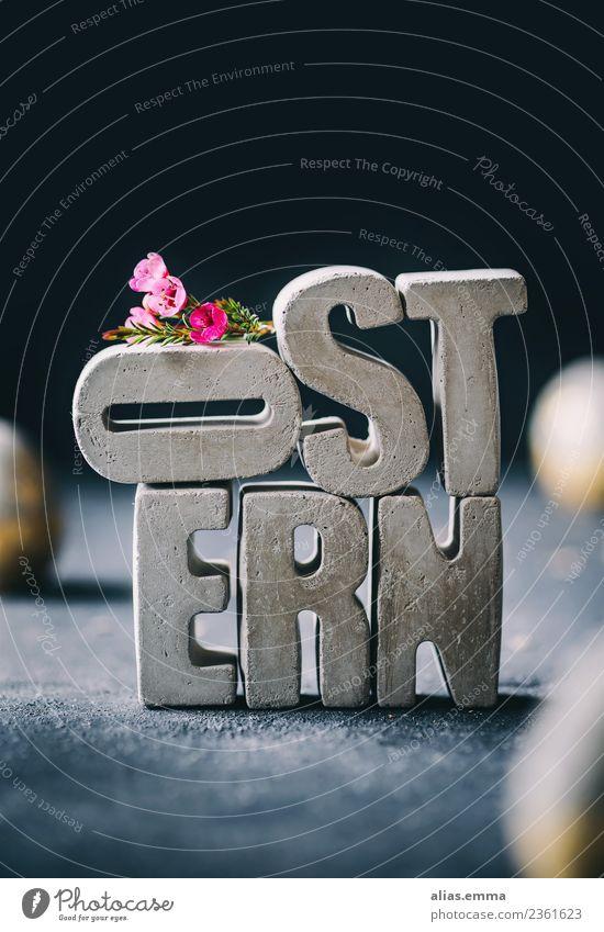 OSTERN - Osterkarte aus Beton-Buchstaben Ostern Osterwunsch Ostergeschenk Osterei Kreativität Blume Kontrast Gegenteil rustikal grau Stapel April Frühling zart