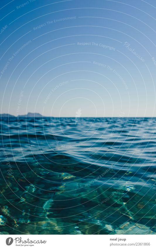 Crystal clear Umwelt Urelemente Wasser Wolkenloser Himmel Sommer Schönes Wetter Küste Meer Insel ästhetisch blau türkis exotisch Ferien & Urlaub & Reisen