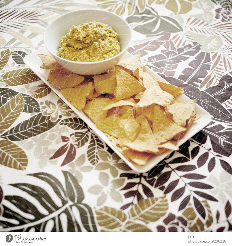 chips & dip Lebensmittel Kartoffelchips Dip Ernährung Fastfood Fingerfood Schalen & Schüsseln lecker Farbfoto Innenaufnahme Menschenleer Tag Tischwäsche Muster