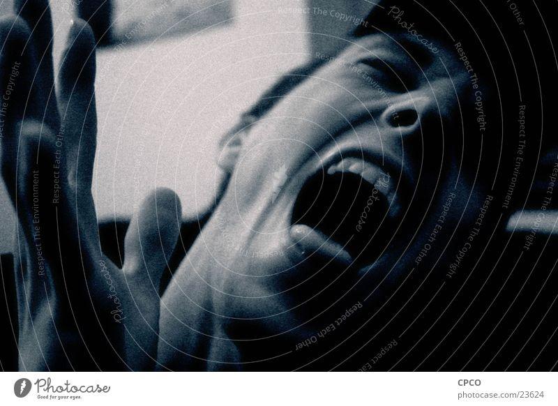 Schmerz Mann Hand Gesicht dunkel Gefühle Angst schreien