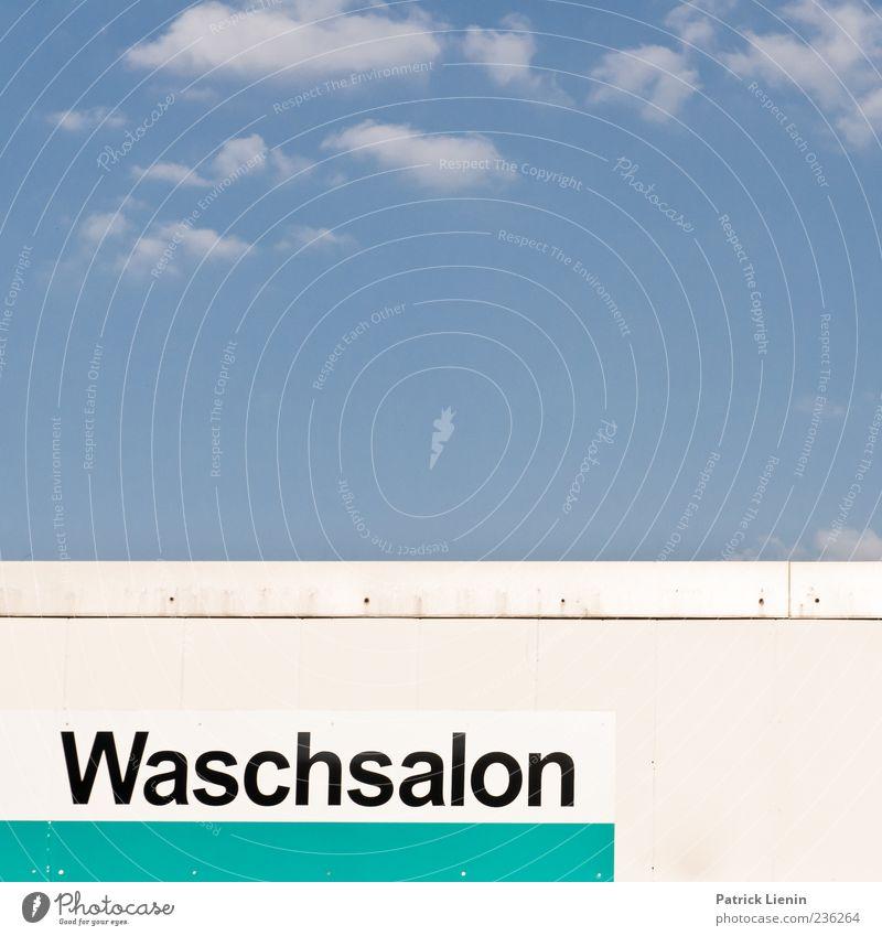 Waschsalon Himmel blau Wolken Schriftzeichen Buchstaben Dienstleistungsgewerbe Wort Wäscherei