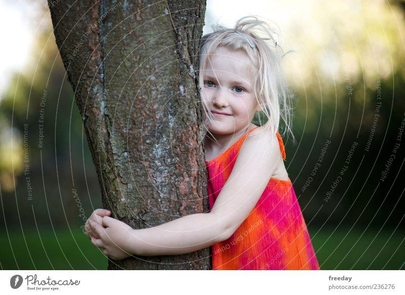 Liebe zur Natur Mensch Kind schön Baum Mädchen Leben blond Kindheit Arme Lächeln Kleid Baumstamm Umweltschutz Umarmen 3-8 Jahre