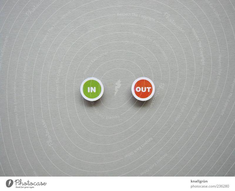 IN OUT alt weiß grün rot grau modern Schriftzeichen rund Zeichen positiv Nostalgie Gegenteil altmodisch vorhersagen veraltet negativ