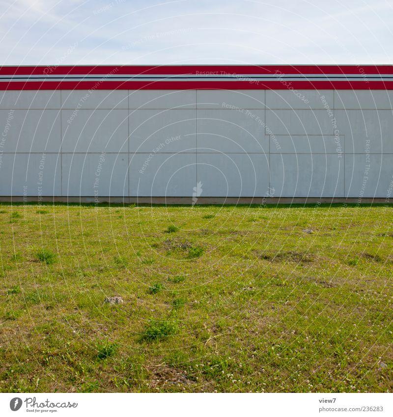 Raum. Haus Bauwerk Gebäude Architektur Mauer Wand Fassade Stein Beton Linie Streifen einfach modern rot weiß Farbe Farbfoto Außenaufnahme Nahaufnahme