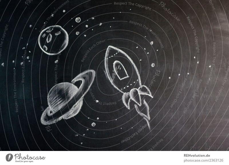 Weltall - Zeichnung auf einer Tafel Ferne Reisefotografie Kunst Freiheit fliegen Ausflug Kreativität Zukunft Idee entdecken neu gemalt Wissenschaften Mond