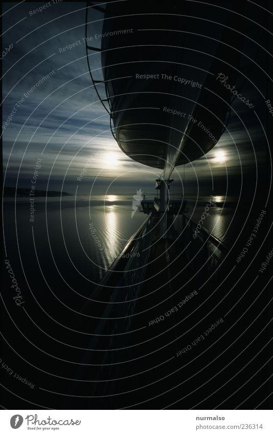 in die Ferne ziehen Natur Ferien & Urlaub & Reisen Sonne Meer Landschaft Küste Horizont glänzend fahren Nordsee Schifffahrt Fähre Fjord Kreuzfahrt Verkehr