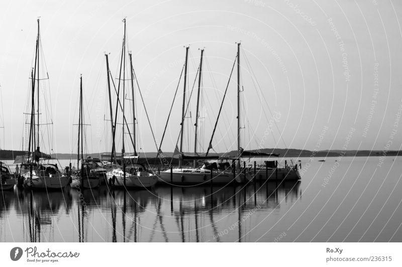 am Hafen Ferien & Urlaub & Reisen Meer Natur Landschaft Wasser Sommer Küste Ostsee Schwarzweißfoto Außenaufnahme Dämmerung Licht Schatten Segelboot ankern Mast