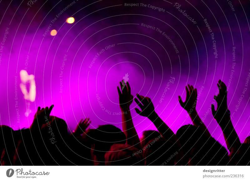 Unerreichbar Mensch Hand Party Musik Feste & Feiern Tanzen Arme violett Konzert Veranstaltung Menschenmenge Bühne Publikum Begeisterung Fan Musiker
