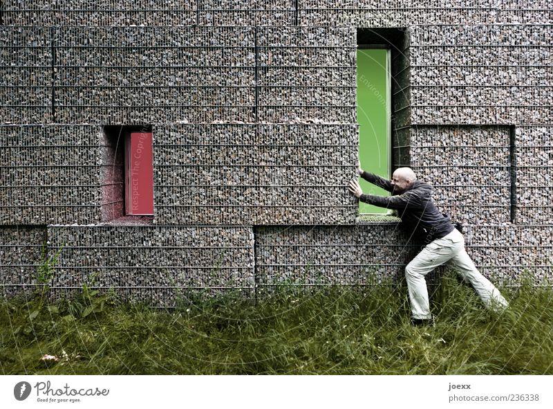 Machtverteilung maskulin Mann Erwachsene 1 Mensch 30-45 Jahre Gras Wiese Mauer Wand grau grün rot Kraft Tatkraft Tetris rot-grün Verschiebung verschieben
