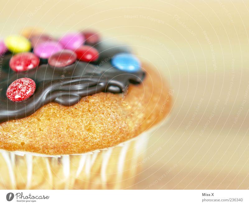 Muffin Lebensmittel Kuchen Dessert Süßwaren Schokolade Ernährung lecker süß mehrfarbig Appetit & Hunger Schokolinsen Farbfoto Nahaufnahme Textfreiraum rechts