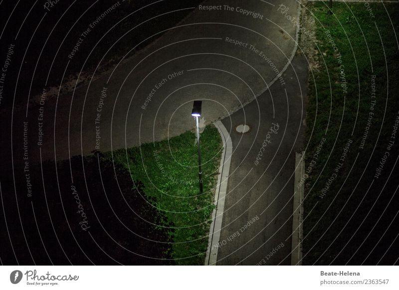 Krimi | Out of the dark Umwelt Gras Park Straße Wegkreuzung Zeichen rennen beobachten bedrohlich dunkel gruselig trist grau grün Sorge Einsamkeit Angst