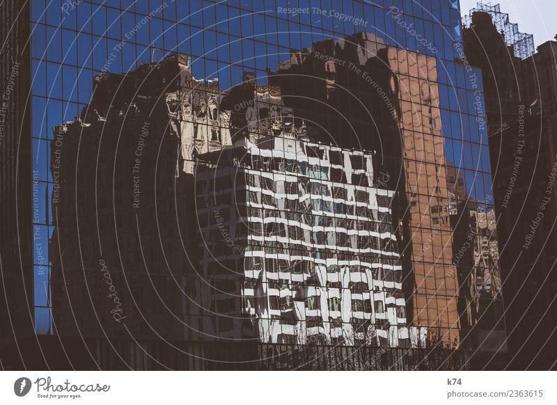 NYC New York City USA Amerika Hauptstadt Stadtzentrum Hochhaus Fassade Fenster blau Farbfoto Außenaufnahme Menschenleer Tag Reflexion & Spiegelung