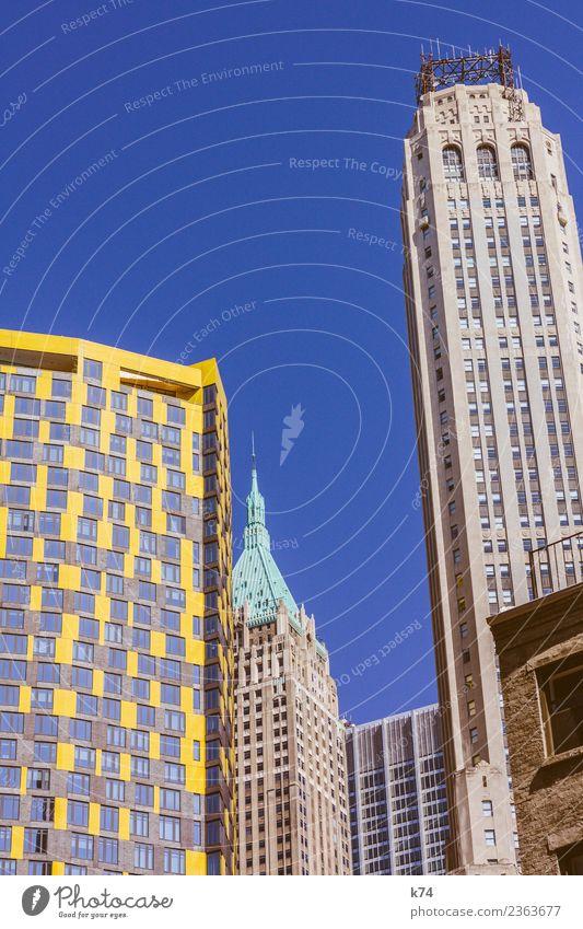 NYC - Architecture II Skyline Froschperspektive Tag Außenaufnahme Gedeckte Farben Farbfoto Stadt New York City USA Amerika Hauptstadt Stadtzentrum Menschenleer