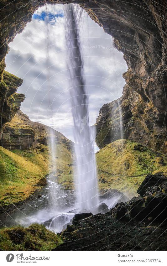 Fallende Wasser_002 Ferien & Urlaub & Reisen Landschaft Erholung Ferne Berge u. Gebirge Hintergrundbild Tourismus Freiheit Ausflug wandern Abenteuer Urelemente
