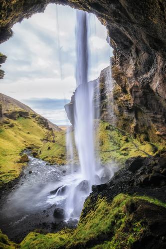 Fallende Wasser_003 Ferien & Urlaub & Reisen Landschaft Erholung Ferne Berge u. Gebirge Hintergrundbild Wiese Tourismus Freiheit Ausflug wandern Abenteuer