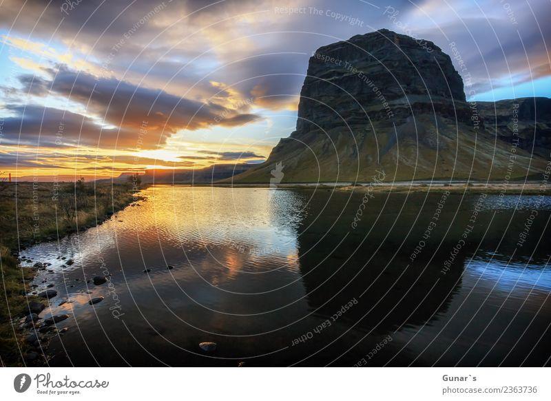 Spiegelung vom Berg Lómagnúpur_001 Himmel Ferien & Urlaub & Reisen Wasser Erholung Ferne Berge u. Gebirge Hintergrundbild Tourismus Freiheit Ausflug wandern