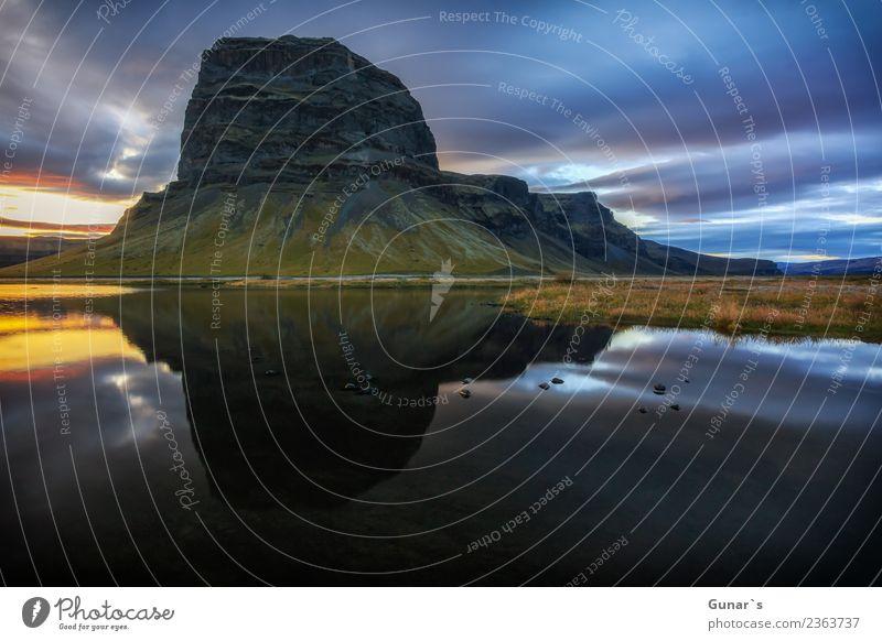 Spiegelung vom Berg Lómagnúpur_002 Ferien & Urlaub & Reisen Sommer Erholung Wolken Ferne Berge u. Gebirge Hintergrundbild Tourismus Freiheit Felsen Ausflug