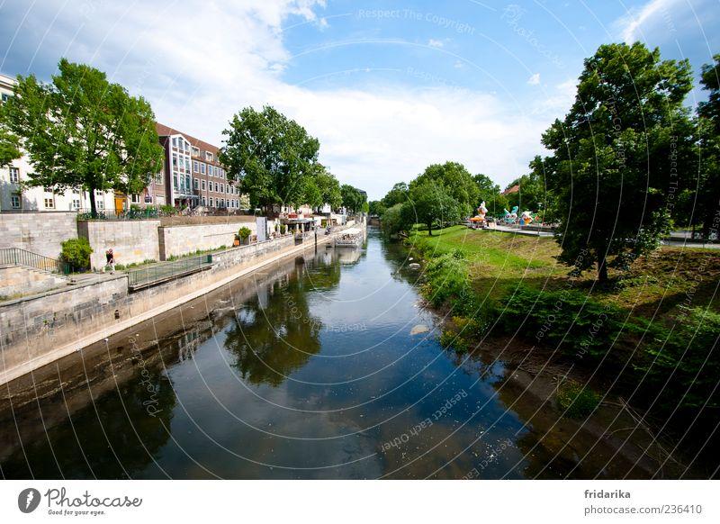 am Leineufer Natur Stadt Baum Sommer Wolken Ferne Erholung Landschaft Wiese Wand Freiheit Gras Küste Mauer Deutschland Wetter