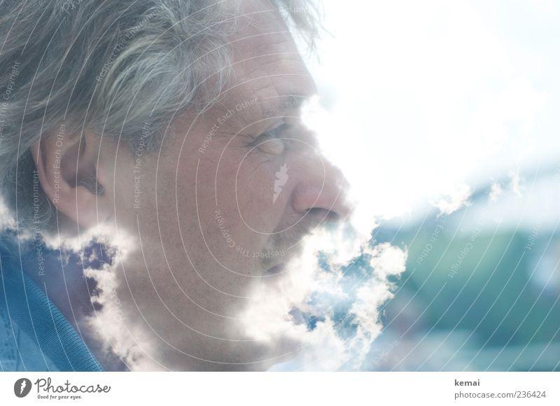 Der liebe Gott Mensch maskulin Mann Erwachsene Leben Kopf Auge Ohr Nase 1 45-60 Jahre Wolken Schönes Wetter hell Doppelbelichtung Rauch Haare & Frisuren