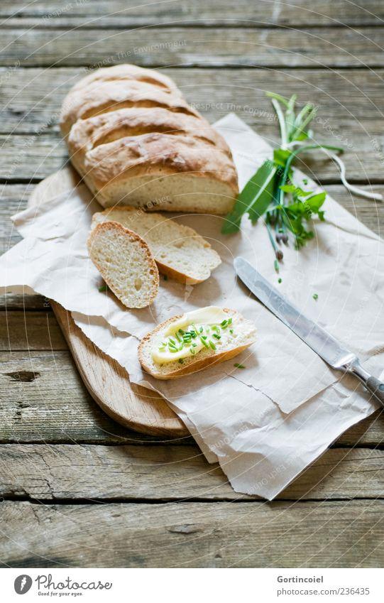 Brotzeit Ernährung Lebensmittel braun natürlich frisch Kochen & Garen & Backen Idylle Kräuter & Gewürze Frühstück lecker Brot Abendessen Bioprodukte Backwaren Messer Mahlzeit
