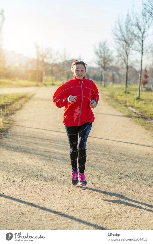 Läuferin beim Joggen im Park Lifestyle Glück schön Wellness Erholung Freizeit & Hobby Winter Sport Leichtathletik Sportler Arbeit & Erwerbstätigkeit Mensch