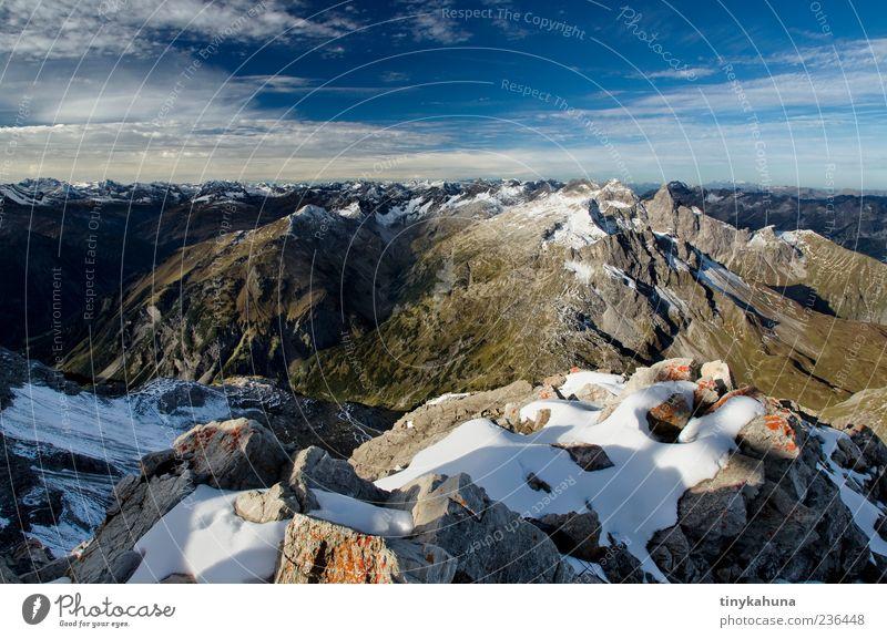 Großer Krottenkopf Himmel Natur blau Einsamkeit Ferne Erholung Landschaft Schnee Herbst Berge u. Gebirge oben Freiheit Stein träumen Horizont Felsen
