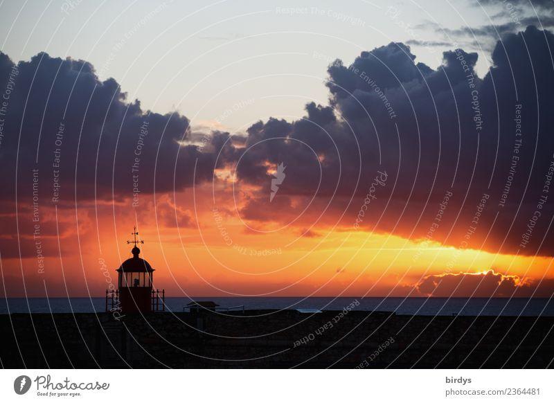 Forte de Sao Miguel / Nazare / Portugal Himmel Natur Ferien & Urlaub & Reisen alt Meer schwarz außergewöhnlich grau orange Horizont leuchten ästhetisch