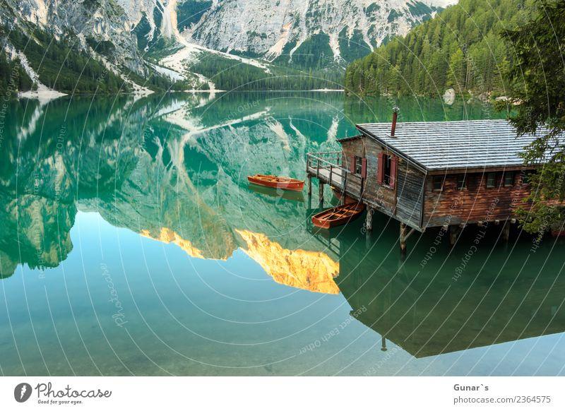 Pragser Spiegel_002 Ferien & Urlaub & Reisen Sommer Wasser Erholung ruhig Ferne Berge u. Gebirge Tourismus Freiheit See Ausflug Zufriedenheit wandern Abenteuer