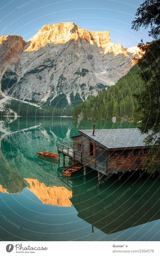 Pragser Spiegel_004 Ferien & Urlaub & Reisen Sommer Wasser Erholung Ferne Berge u. Gebirge Tourismus Freiheit See Ausflug wandern Idylle Abenteuer