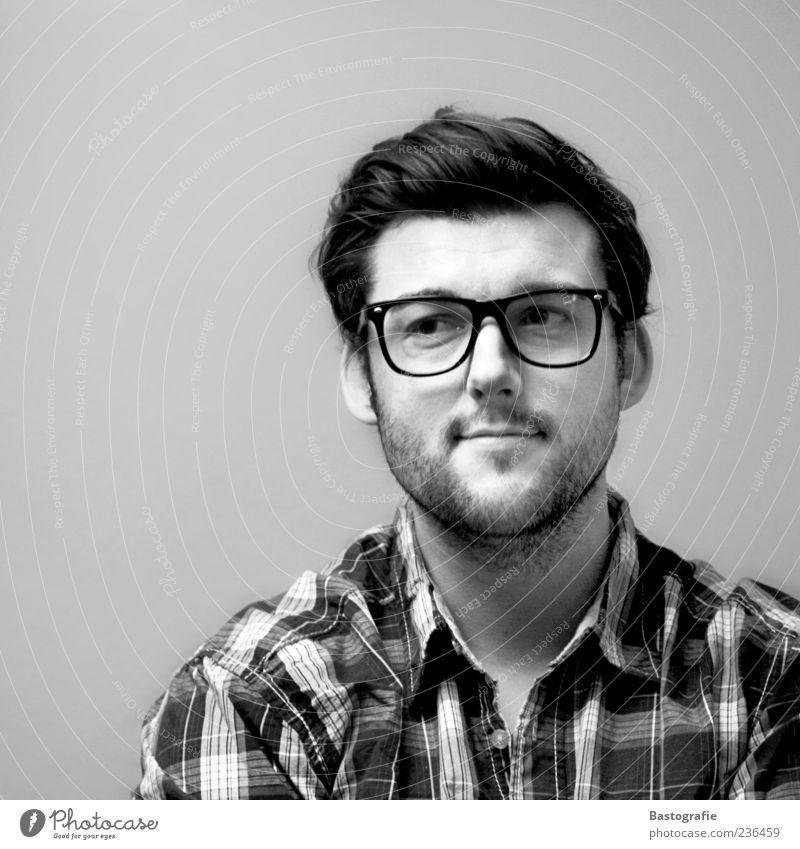 Gedanken 1 Mensch Gefühle Blick Brille beobachten Mann klug skeptisch Bart Haare & Frisuren Porträt Hemd Auge Stimmung Laune warten schwarzhaarig trüb
