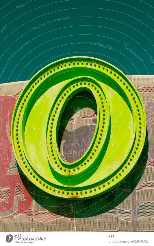 O Metall Zeichen Schriftzeichen Ziffern & Zahlen Schilder & Markierungen o frisch retro rund gelb grün Buchstaben Werbung Leuchtreklame Farbfoto mehrfarbig