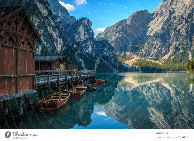 Pragser Spiegel_003 Ferien & Urlaub & Reisen Sommer Wasser Erholung Ferne Berge u. Gebirge Hintergrundbild Tourismus Freiheit See Felsen Ausflug wandern Idylle