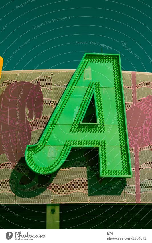 A Pferd Metall Zeichen Schriftzeichen Coolness Freundlichkeit Fröhlichkeit frisch grün Design Buchstaben Typographie Schilder & Markierungen Leuchtbuchstabe