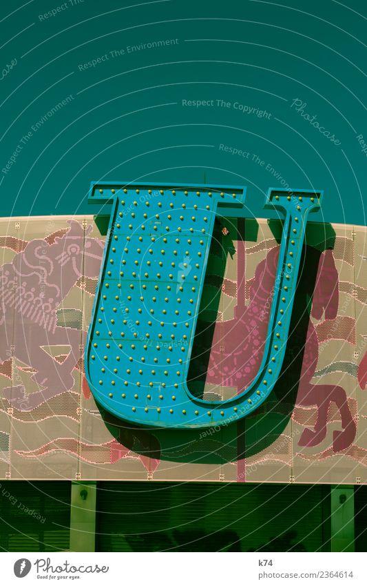 U Pferd Zeichen Schriftzeichen u frisch blau mehrfarbig grün Leuchtreklame Serife Typographie Farbfoto Außenaufnahme Menschenleer Textfreiraum oben Tag