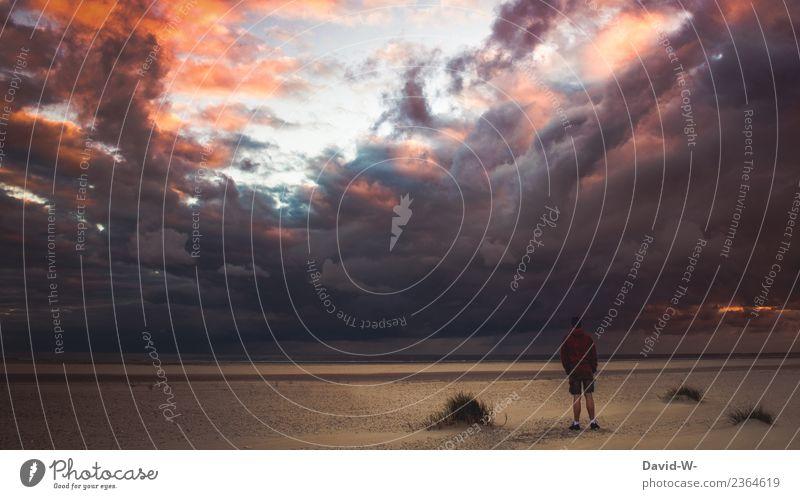 ruhe Mensch Natur Ferien & Urlaub & Reisen Jugendliche Mann Meer Einsamkeit ruhig Strand Ferne Erwachsene Leben Gesundheit Umwelt Tourismus Freiheit