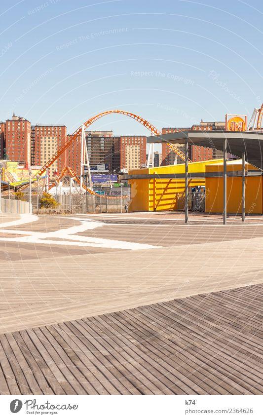 NYC - Luna Park Coney Island - Nathan's Original blau Haus Freude Architektur gelb Holz Stein orange Ausflug Freizeit & Hobby Metall frei frisch Fröhlichkeit