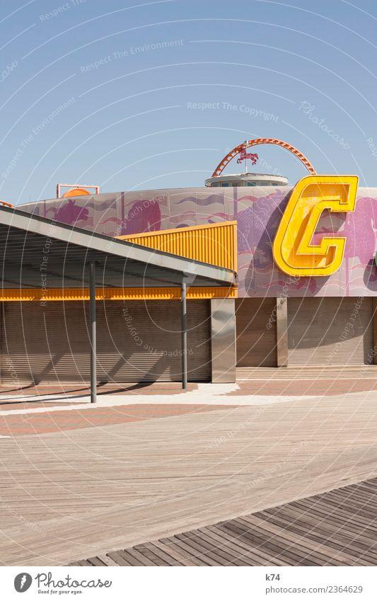 NYC - Luna Park Coney Island - C blau Freude Architektur gelb rosa hell frisch Fröhlichkeit USA fantastisch Hauptstadt Pferd Amerika positiv Stadtrand