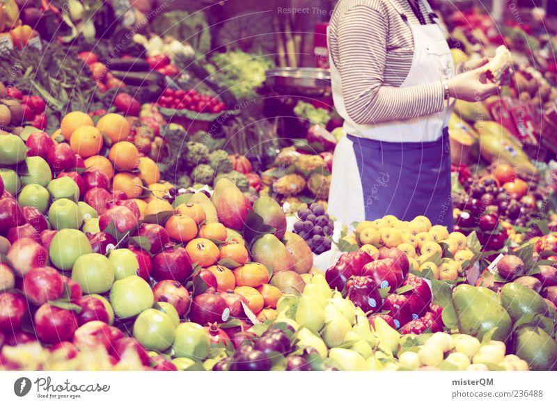 Qual der Wahl. Lebensmittel Gesundheit Frucht Orange frisch Markt viele Gesunde Ernährung Apfel Gemüse Handel Wirtschaft Beruf Barcelona Händler Auswahl
