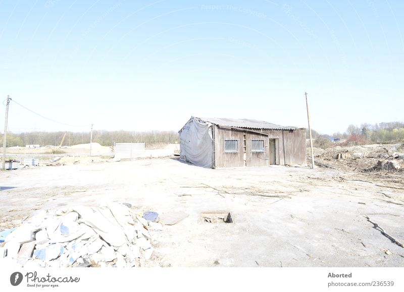 Habitat alt Einsamkeit Landschaft Holz trist Hütte Haus Holzhütte