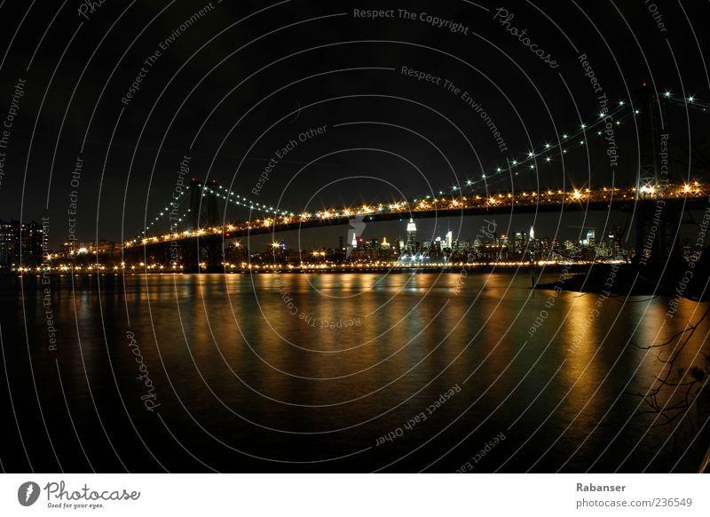Manhattan Bridge 2 alt Wasser Stadt Haus Gefühle träumen hell Stimmung Verkehr Brücke Coolness Skyline Verkehrswege Amerika Abenddämmerung Straßenverkehr