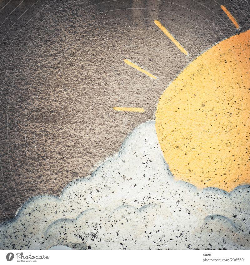 Immer wieder sonntags Sonne Umwelt Wolken Wetter Mauer Wand Fassade Graffiti alt authentisch Freundlichkeit Fröhlichkeit gelb grau weiß Putz Wandmalereien